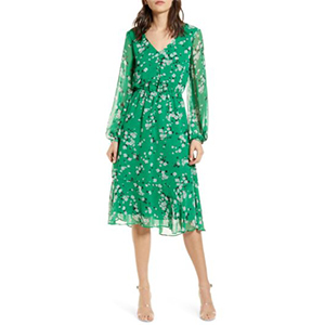Woman wearing a green dress from Nordstrom photo