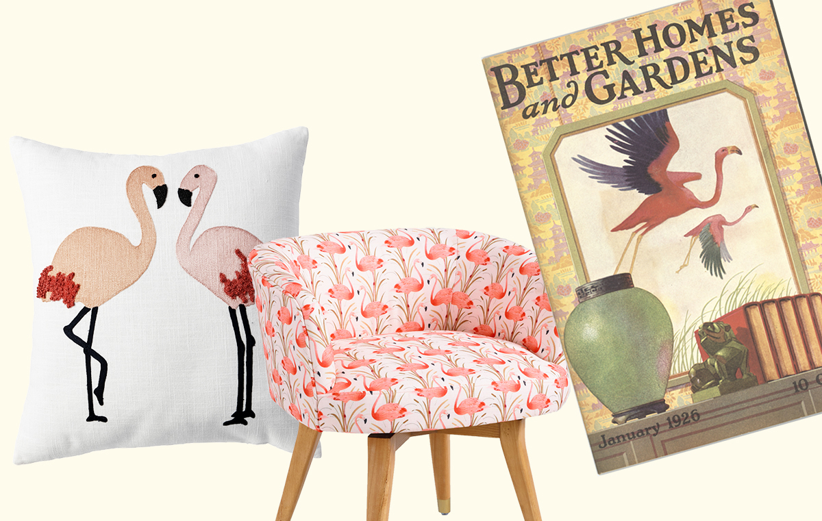 Pillow and chair next to 1926 Better Homes & Gardens Magazine photo