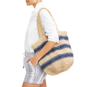 Eliza May Rose natural and blue striped beach tote photo