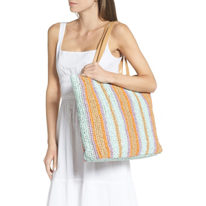 Barnet soft striped woven tote in teal from Nordstrom photo