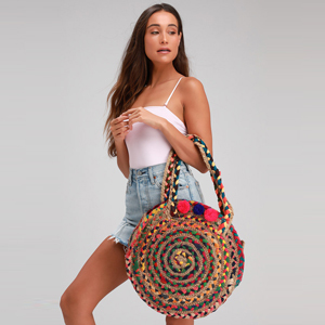 Birdie beige multi woven oversized circle tote from Lulus photo