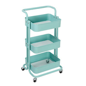 Teal three tiered storage cart from Amazon photo
