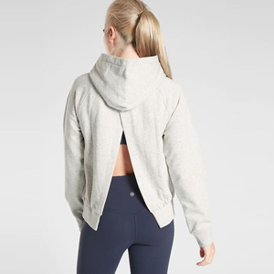 Light gray hoodie with an open back photo