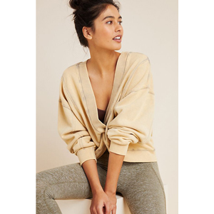 Desert Sage reversible sweatshirt with twisted front from Anthropologie photo