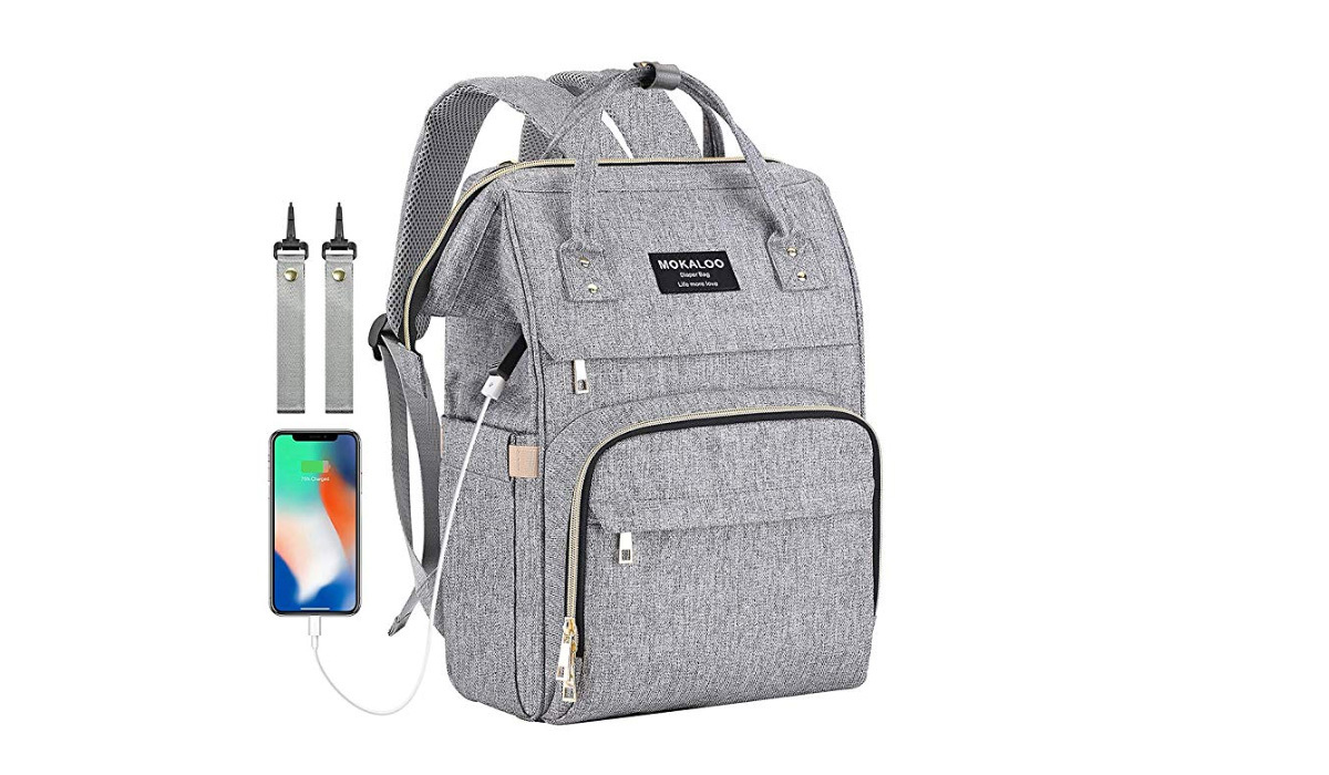 Gray backpack with additional straps and USB port