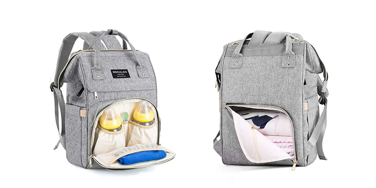 Gray backpack diaper bag with front and back pockets from Amazon photo