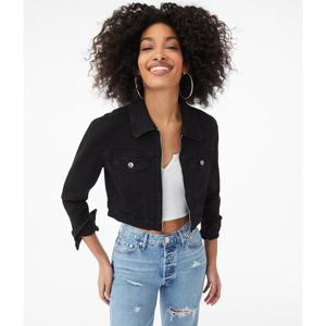 Black cropped jean jacket with zipper from Aeropostale photo
