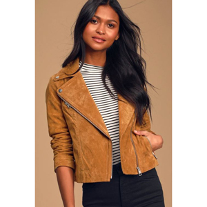 Tan suede leather moto jacket from Lulus photo