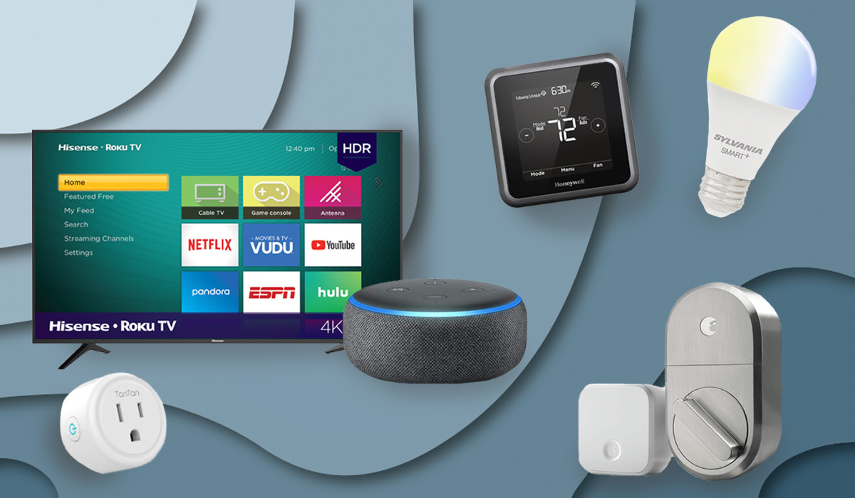 Smart home devices including Amazon echo dot, August smart lock, and Roku TV.
