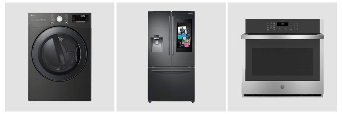 Product grid with LG dryer, Samsung refrigerator, and GE oven from The Home Depot. photo