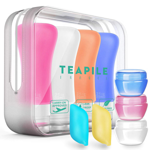 Four-pack travel bottles in variety of colors from Amazon photo