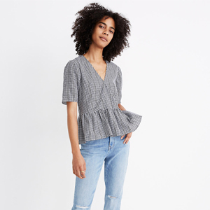 Crossover peplum top in black and white gingham check from Madewell photo