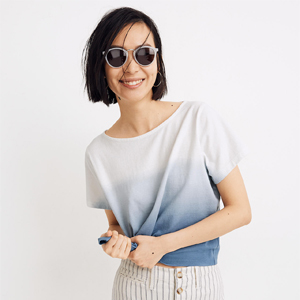 Blue and white dip-dye boxy tee from Madewell photo