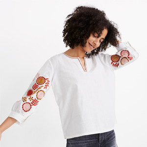 Embroidered quarter-sleeve top in white from Madewell photo