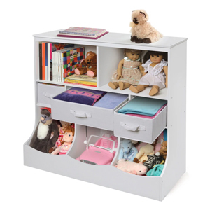 White toy storage shelves from Overstock photo
