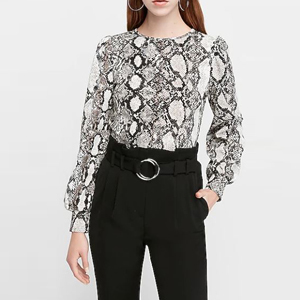 Snakeskin long-sleeve blouse from Express photo