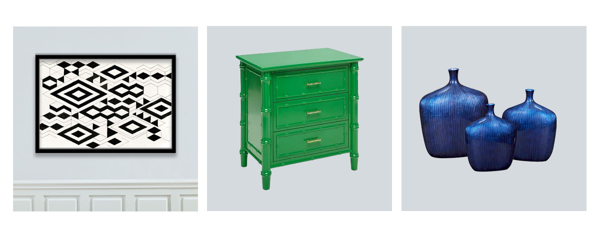 Photo grid of wall art, green drawers, and blue vases. photo