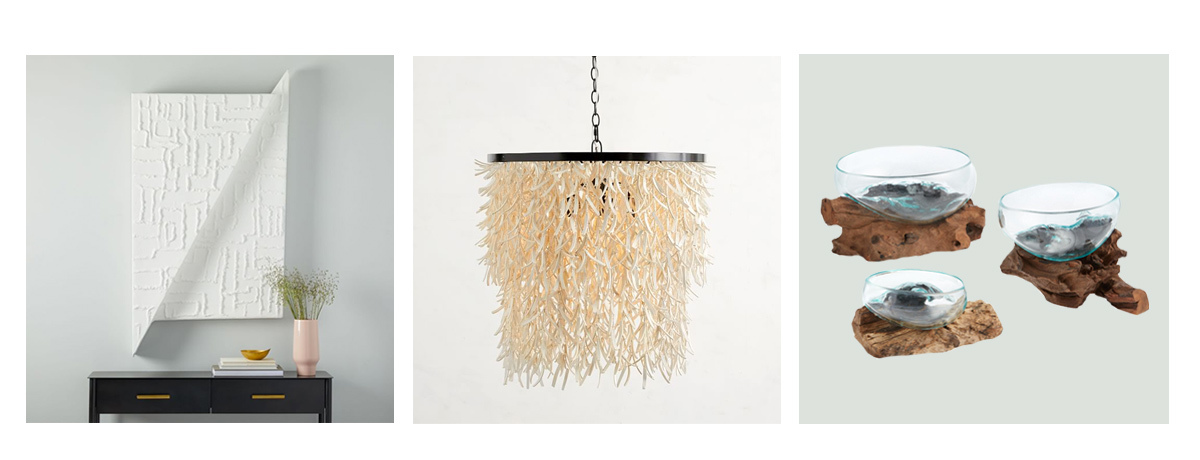 Photo grid of wall art, chandelier, and glass bowls. photo