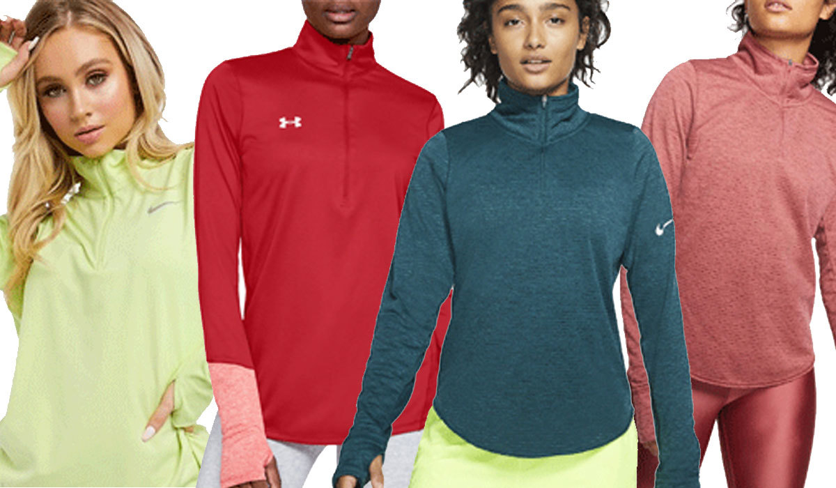 different colored half-zip tops that are nike and under armour