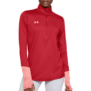 woman wearing red and pink Under Armour half-zip top from Dick's Sporting Goods photo
