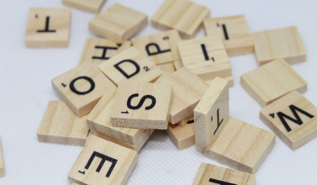 Pile of wooden letters from Scrabble game