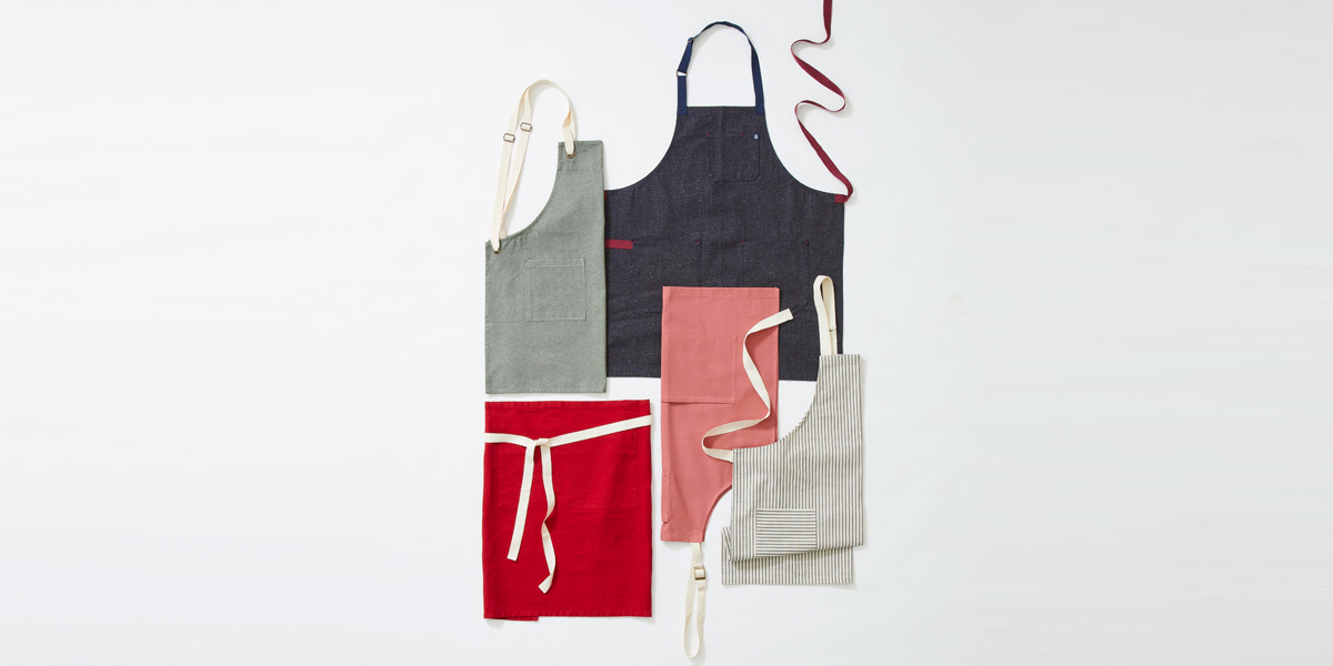 Aprons in various colors and patterns photo