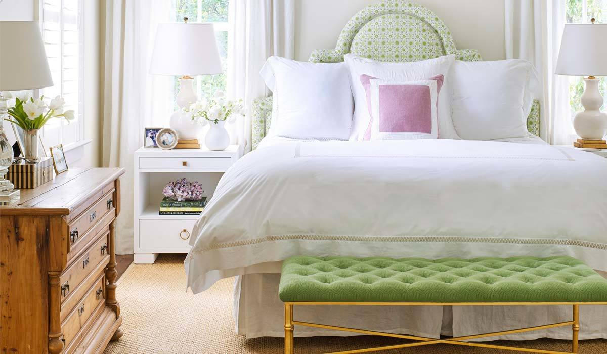 A bedroom with green accents photo