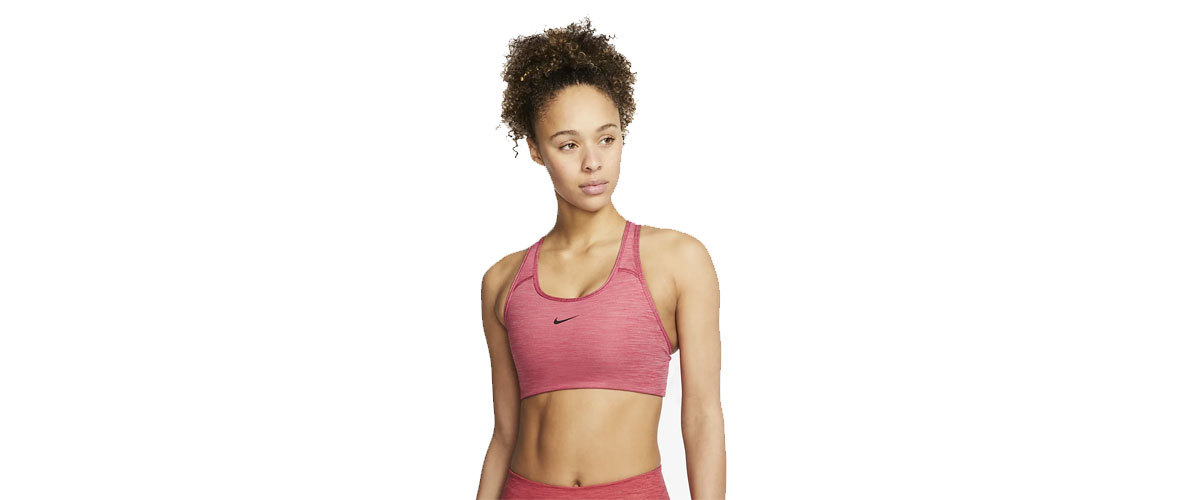 Red Nike padded sports bra with medium support photo