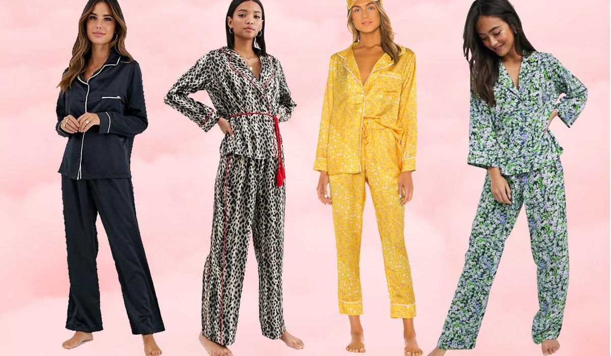 four women in different colored pajamas