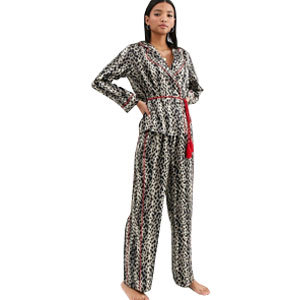 Women's satin leopard print pajama set with red accents from Asos photo