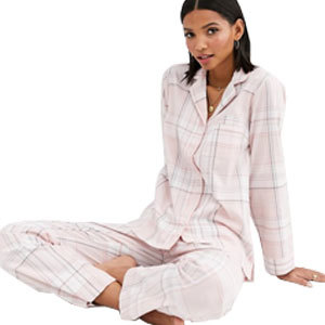 women's light pink check pajama gift set from Asos photo