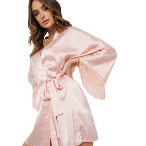women's blush pink satin robe with fringe from Asos photo