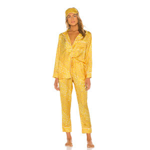 yellow floral silky-textured women's pajamas from Revolve photo