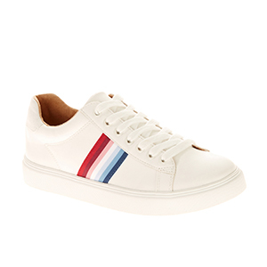 White sneakers with multicolored stripes from Walmart photo