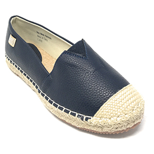 Navy blue faux leather espadrille shoe from Walmart photo