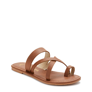Brown vegan leather strappy sandals from Walmart photo