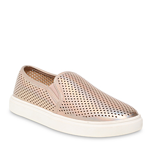 Rose gold metallic perforated slip-on sneakers from Walmart photo