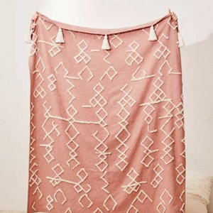 Blush pink geometric blanket from Urban Outfitters photo