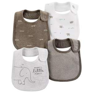 Four-pack of elephant teething bibs from Carter's photo