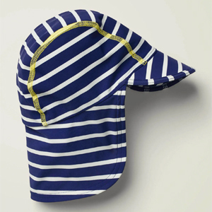 Navy-and-white striped swim hat from Boden photo