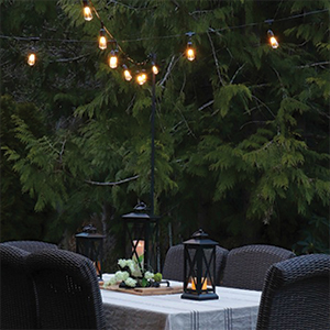 String lights and metal lanterns from Walmart. photo