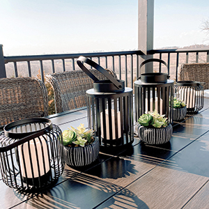 Slat Lanterns and candles from Walmart. photo