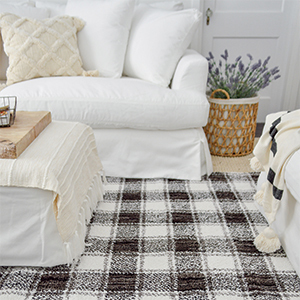 Gingham Plaid Area rug and white loveseat from Walmart. photo