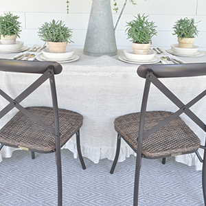 Farmhouse chairs with outdoor table. photo
