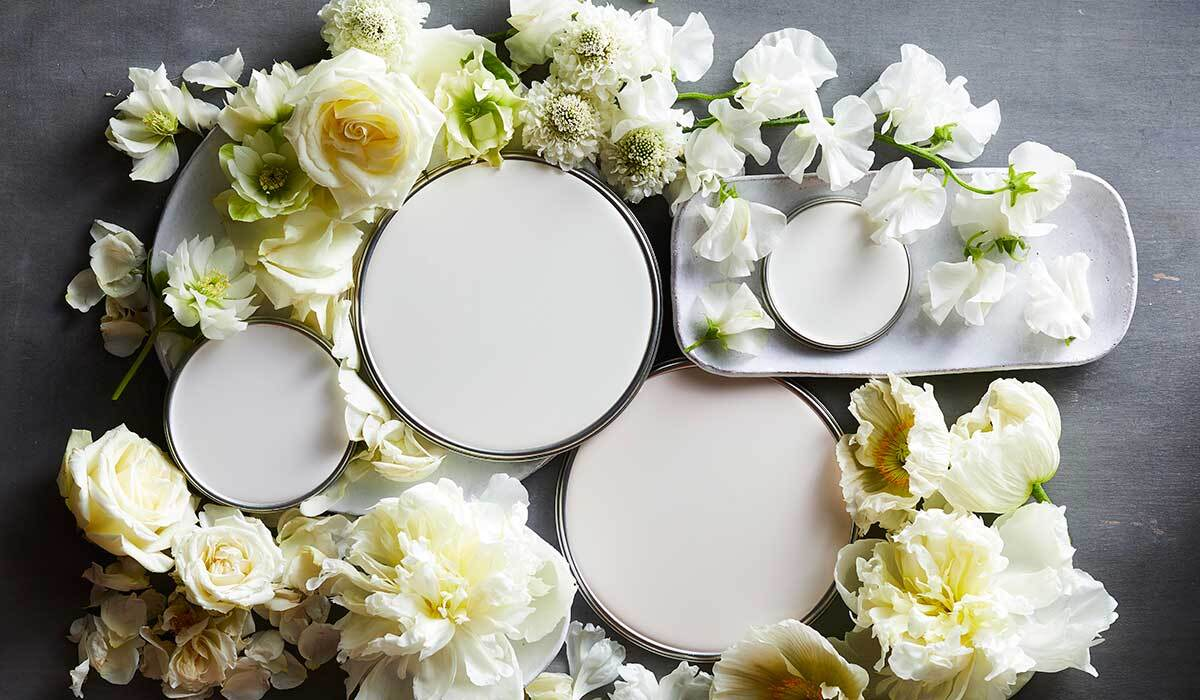 White paint lids surrounded by flowers photo