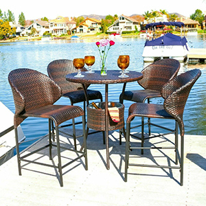 Outdoor bistro set with four chairs and one table from eBay photo