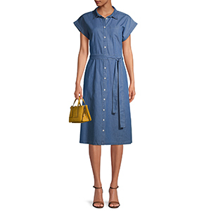 A woman wears a chambray belted midi shirtdress from Walmart photo