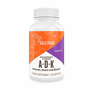 Bottle of vitamins A, D, and K supplement from Bulletproof photo