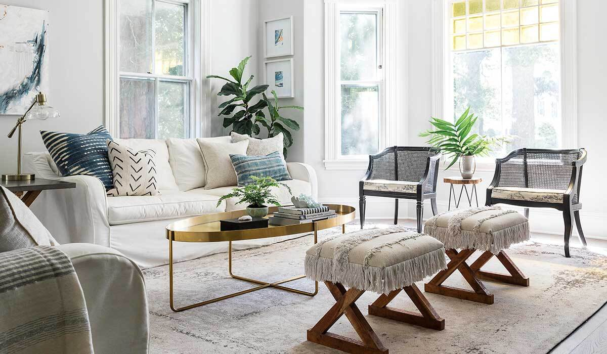 Living room with modern and Victorian elements photo