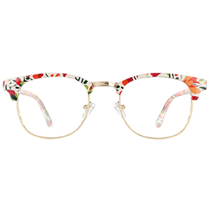 Browline glasses with multicolored floral patterned frames from Zenni Optical photo